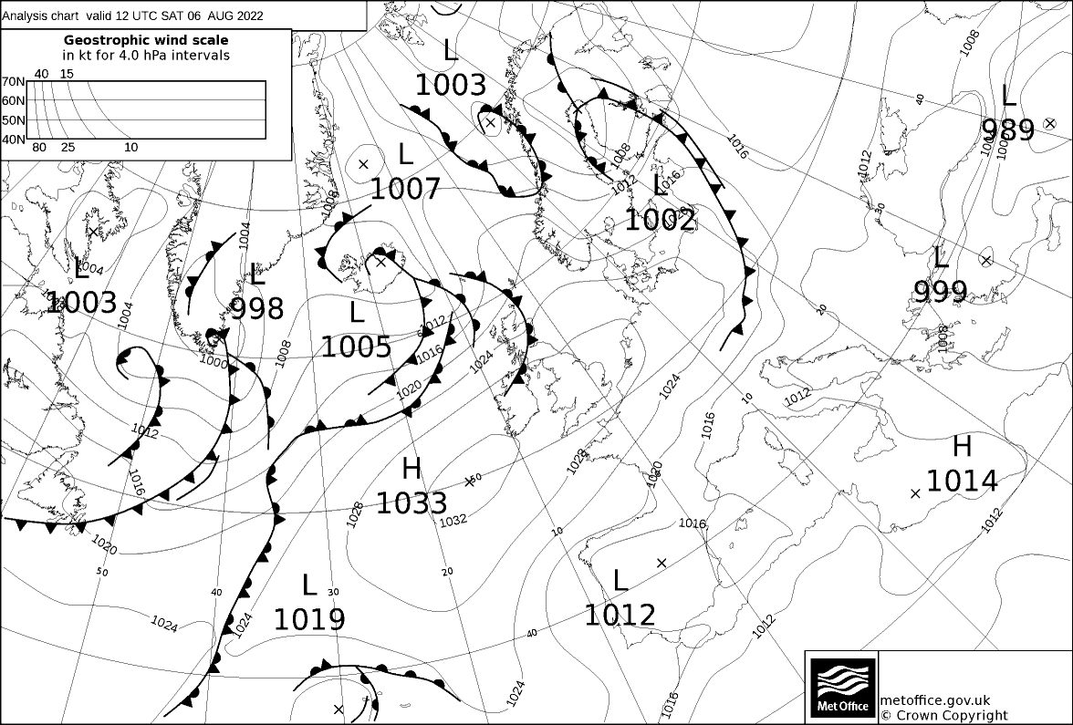 Synoptic weather charts from the UK Met Office